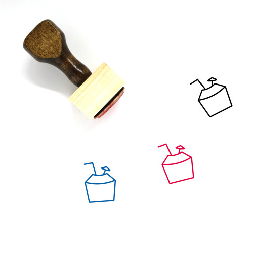 Coconut Drink Wooden Rubber Stamp No. 43