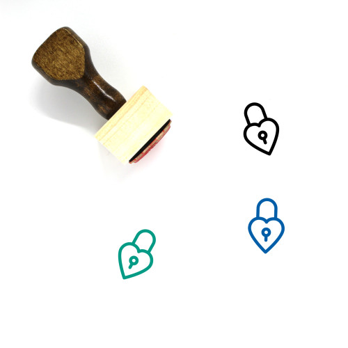 Heart Lock Wooden Rubber Stamp No. 20