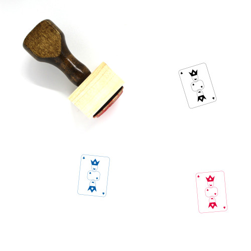 Queen Of Clubs Wooden Rubber Stamp No. 1