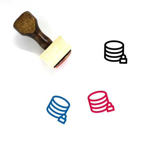 Lock Database Wooden Rubber Stamp No. 1