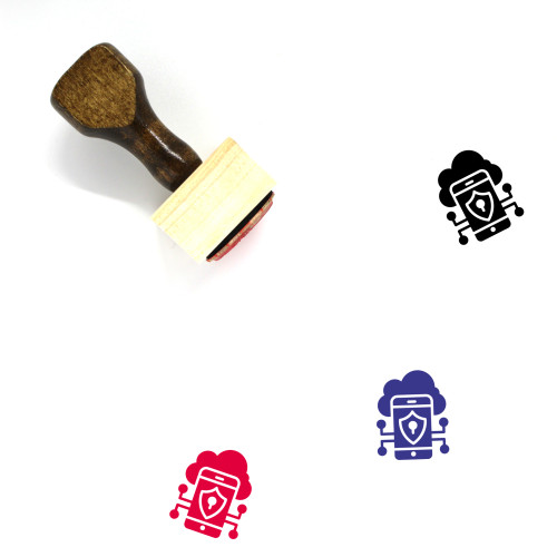 Mobile Data Protection Wooden Rubber Stamp No. 2