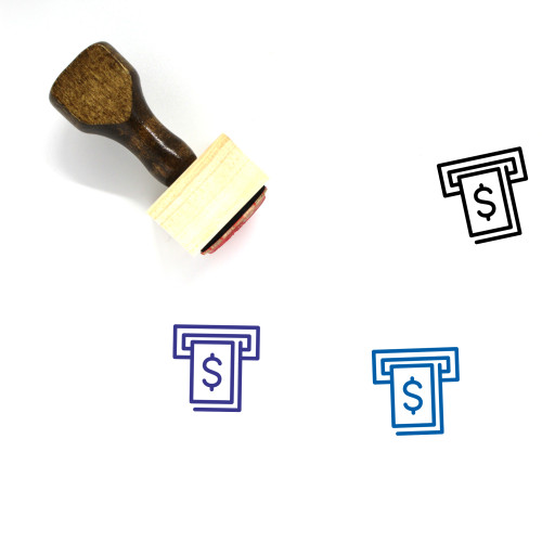 Dollar Atm Wooden Rubber Stamp No. 1
