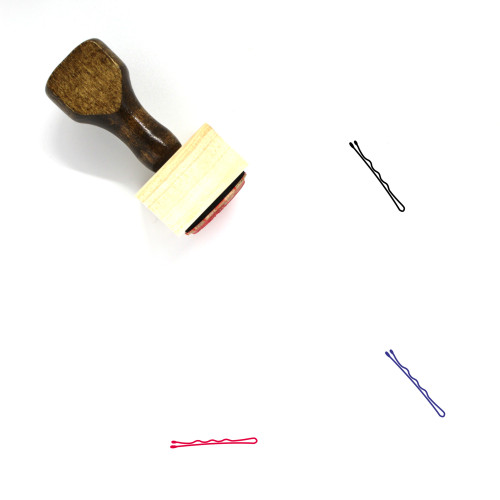Hair Pin Wooden Rubber Stamp No. 4