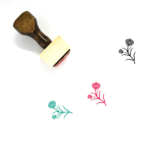 Orchids Wooden Rubber Stamp No. 4
