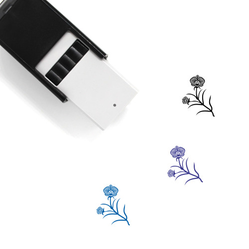 Orchids Self-Inking Rubber Stamp No. 4