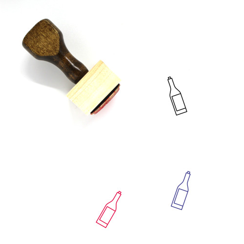Wine Bottle Wooden Rubber Stamp No. 78