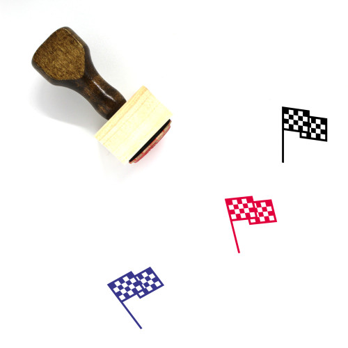 Checkered Flag Wooden Rubber Stamp No. 41