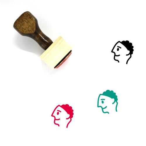 Head With Brain Wooden Rubber Stamp No. 1