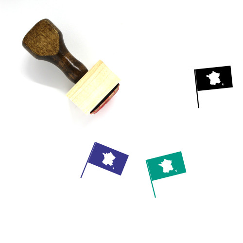 France Flag Wooden Rubber Stamp No. 14