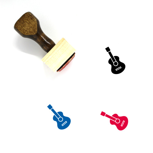 Guitar Wooden Rubber Stamp No. 58