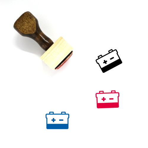 Car Battery Wooden Rubber Stamp No. 36