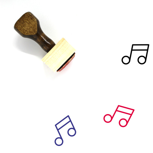 Music Notes Wooden Rubber Stamp No. 74