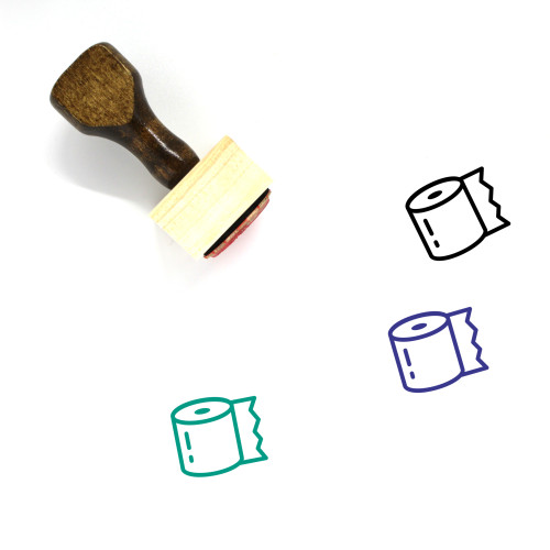 Toilet Paper Wooden Rubber Stamp No. 47