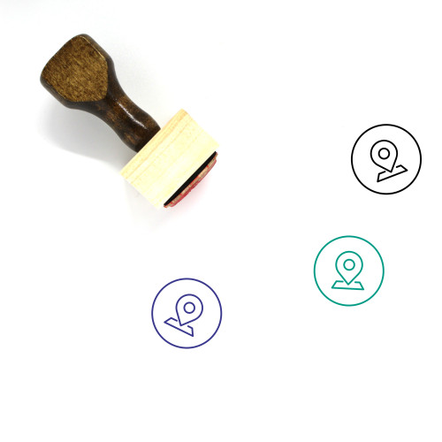 Map Pin Wooden Rubber Stamp No. 130