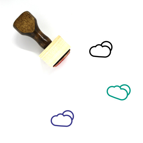 Partially Cloudy Wooden Rubber Stamp No. 78