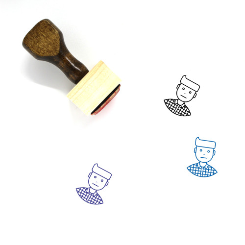 Facial Expression Wooden Rubber Stamp No. 35