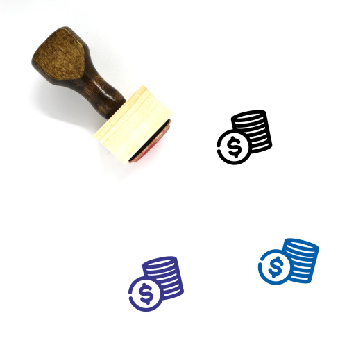 Coins Stack Wooden Rubber Stamp No. 20