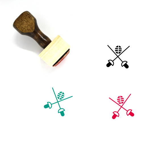 Fencing Wooden Rubber Stamp No. 95
