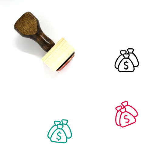 Money Bags Wooden Rubber Stamp No. 16