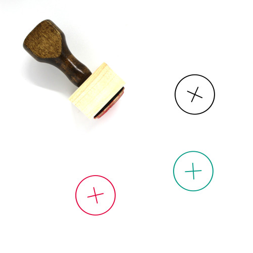 Plus Button Wooden Rubber Stamp No. 5