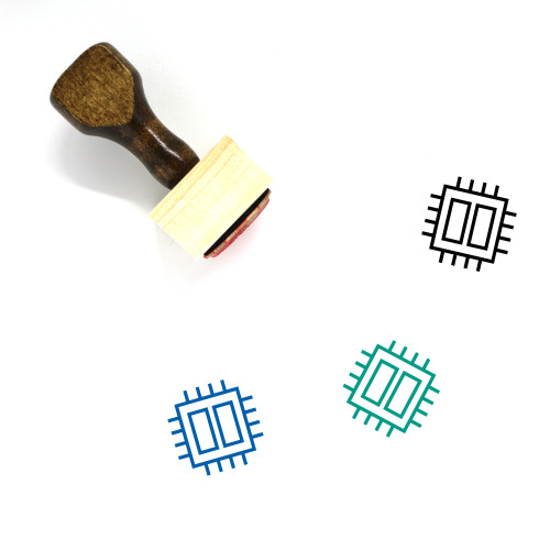 Circuit Board Wooden Rubber Stamp No. 34