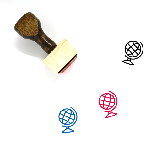 Globe Wooden Rubber Stamp No. 1355
