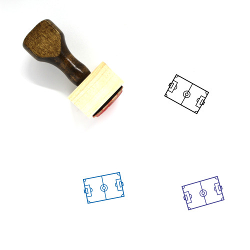 Soccer Field Wooden Rubber Stamp No. 45