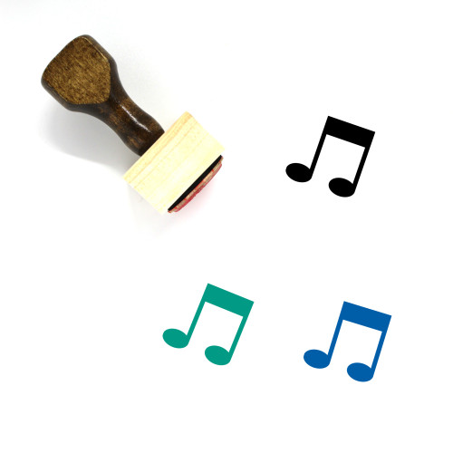 Music Note Wooden Rubber Stamp No. 86