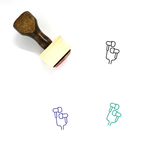 Earbuds Wooden Rubber Stamp No. 9