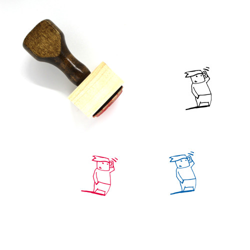 Phone Call Wooden Rubber Stamp No. 102