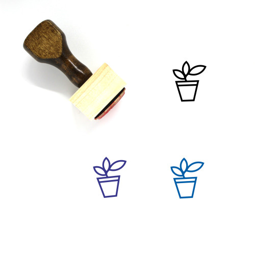 Potted Plant Wooden Rubber Stamp No. 22