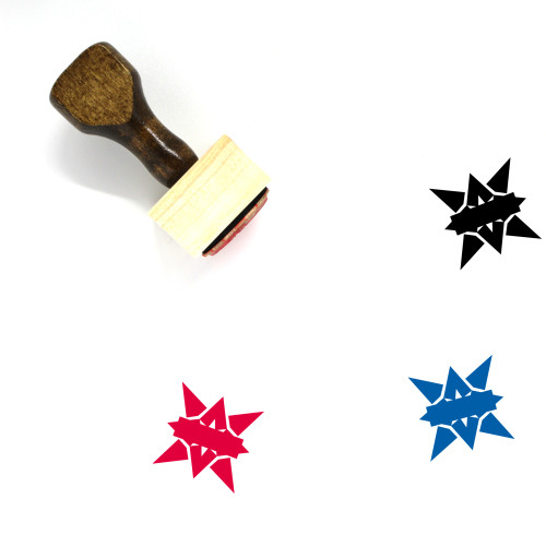 Star Badge Wooden Rubber Stamp No. 40