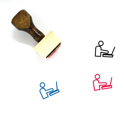 WORKING LAPTOP Wooden Rubber Stamp No. 15