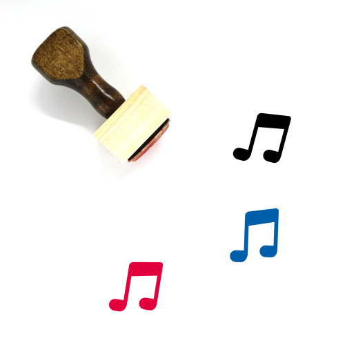 Music Notes Wooden Rubber Stamp No. 76