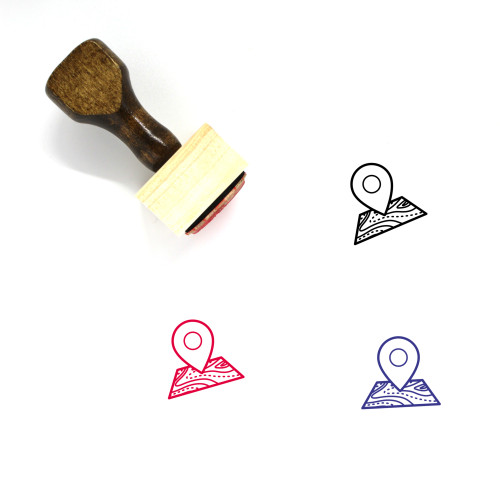 Map Marker Wooden Rubber Stamp No. 315