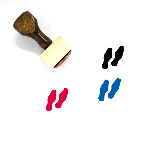 Shoe Prints Wooden Rubber Stamp No. 15