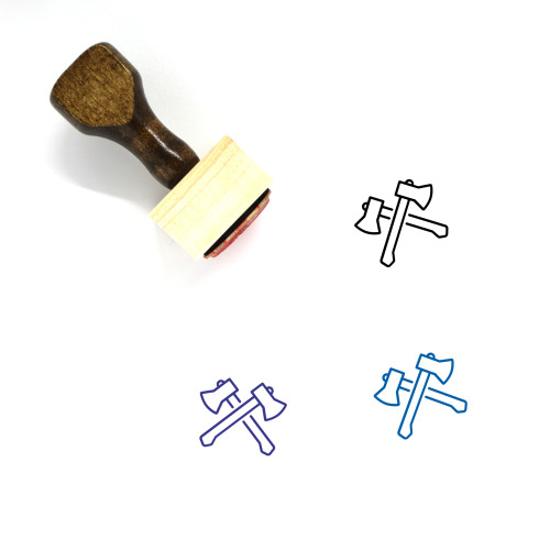 Axes Wooden Rubber Stamp No. 37