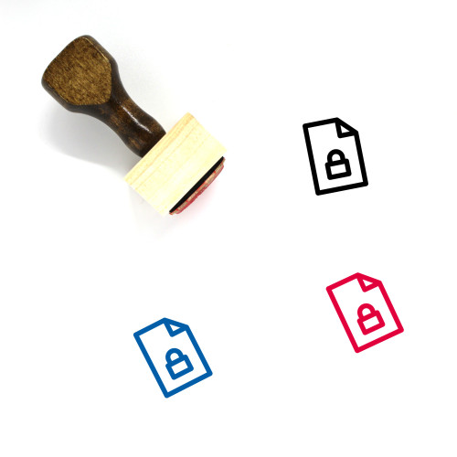 Lock File Page Wooden Rubber Stamp No. 1