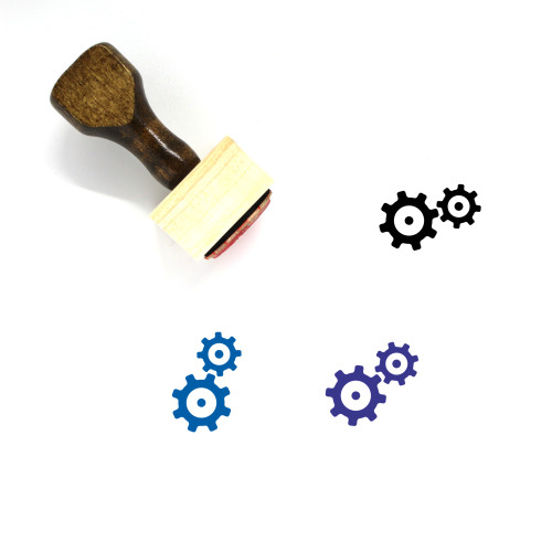 Gears Wooden Rubber Stamp No. 92