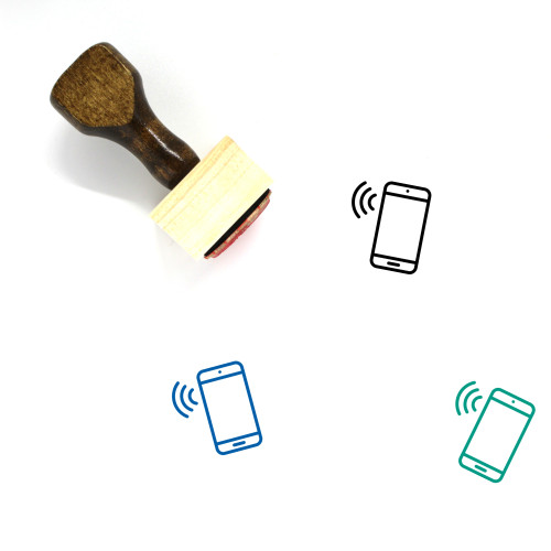 Phone Connection Wooden Rubber Stamp No. 16