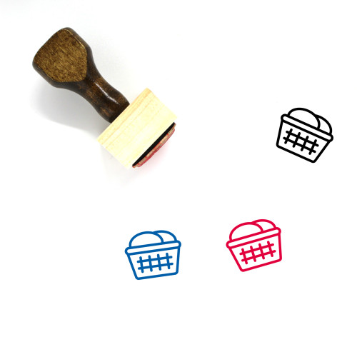 Laundry Basket Wooden Rubber Stamp No. 21
