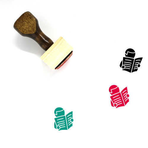 Reading Newspaper Wooden Rubber Stamp No. 15