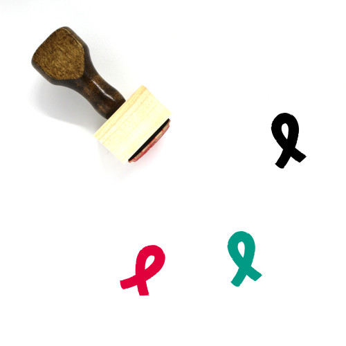 Cancer Ribbon Wooden Rubber Stamp No. 15
