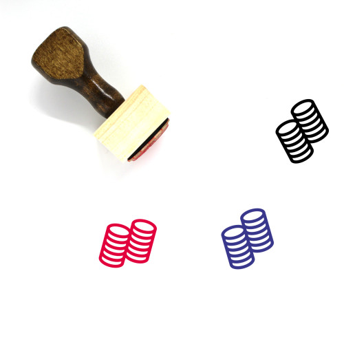 Coins Stack Wooden Rubber Stamp No. 22