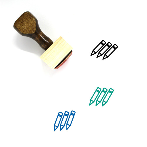 Pencils Wooden Rubber Stamp No. 5