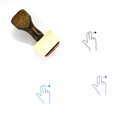 Two Finger Swipe Right Wooden Rubber Stamp No. 16