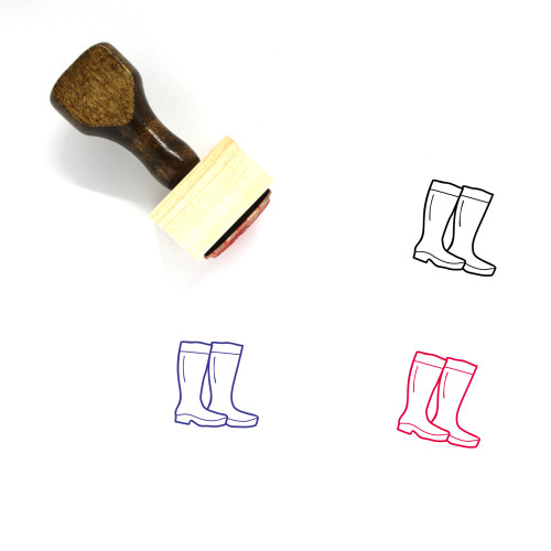 Camping Boots Wooden Rubber Stamp No. 4
