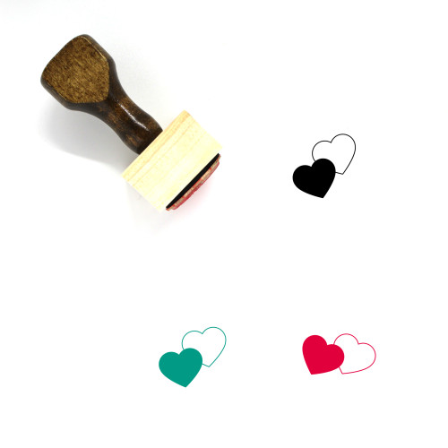 Love Hearts Wooden Rubber Stamp No. 9