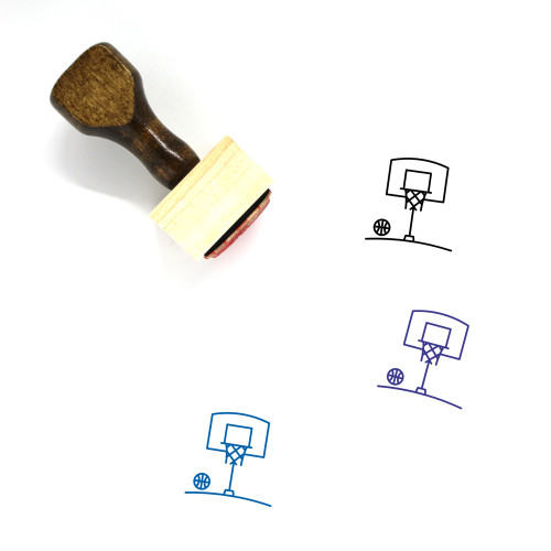 Basket Ball Wooden Rubber Stamp No. 1