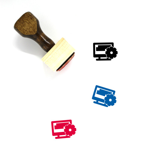 Computer Settings Wooden Rubber Stamp No. 41